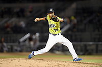 Pitcher Briam Campusano (33) of the Columbia Fireflies delivers a pitch in a game against the Augusta GreenJackets on Thursday, July 11, 2019 at Segra Park in Columbia, South Carolina. Columbia won, 5-2. (Tom Priddy/Four Seam Images)