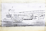 Seattle, Lake Union, Joel Rogers, Journal Art 2002, ink and charcoal on paper, Ferry Kalakala,