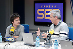 The English singer, composer and pianist of pop and jazz Jamie Cullum with journalist Carles Francino during his interview on Spanish radio program 'La Ventana' (The Window) from the Cadena SER.May 28,2013. (ALTERPHOTOS/Acero)