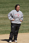 MADISON, WI - APRIL 16: Head coach Chandelle Schulte of the Wisconsin Badgers softball team looks on against the Indiana Hoosiers at Goodman Diamond on April 16, 2007 in Madison, Wisconsin. (Photo by David Stluka)