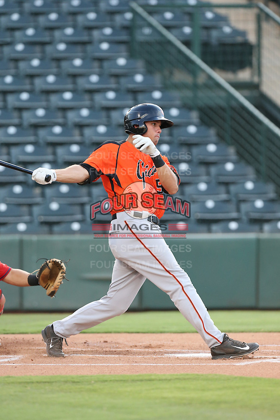Dillon Dobson (52) of the AZL Giants bats during a game against the AZL Angels at Tempe Diablo Stadium on July 6, 2015 in Tempe, Arizona. Angels defeated the Giants, 3-1. (Larry Goren/Four Seam Images)