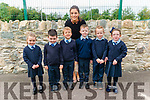 First day of school for junior infants l-r Daniel O'Donoghue, Jakub Piekarski, Conall Favier, Ella O'Donoghue, Emily O'Donoghue and Dara O'Donoghue pictured with the class teacher Anita Nolan at the Glenflesk NS last Monday.