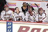 Patrick Wey (BC - 6), Patch Alber (BC - 3), Greg Brown (BC - Assistant Coach), Isaac MacLeod (BC - 7), Brian Dumoulin (BC - 2) - The Boston College Eagles defeated the Merrimack College Warriors 4-2 to give Head Coach Jerry York his 900th collegiate win on Friday, February 17, 2012, at Kelley Rink at Conte Forum in Chestnut Hill, Massachusetts.