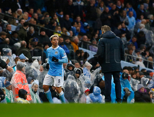 09.04.2016. The Emirates Stadium, Manchester, England. Barclays Premier League. Manchester City versus West Bromwich Albion. Manchester City midfielder Samir Nasri starting his first game in seven months, heads for  Manchester City manager Manuel Pellegrni after he has scored the decisive goal for his side.
