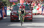 Pierre Rolland (FRA) EF-Drapac-Cannondale from the breakaway crosses the finish line in 3rd place at the end of Stage 4 of the La Vuelta 2018, running 162km from Velez-Malaga to Alfacar, Sierra de la Alfaguara, Andalucia, Spain. 28th August 2018.<br /> Picture: Colin Flockton | Cyclefile<br /> <br /> <br /> All photos usage must carry mandatory copyright credit (&copy; Cyclefile | Colin Flockton)