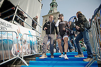 Press Officer Tim Vanderjeugd and Fabian Cancellara (CHE/TrekFactoryRacing) walking to the start<br /> <br /> 57th E3 Harelbeke 2014