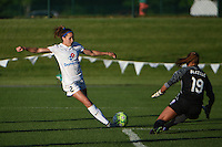 Kansas City, MO - Saturday May 28, 2016: Orlando Pride goalkeeper Aubrey Bledsoe (19) makes a save against FC Kansas City forward Shea Groom (2) during a regular season National Women's Soccer League (NWSL) match at Swope Soccer Village.
