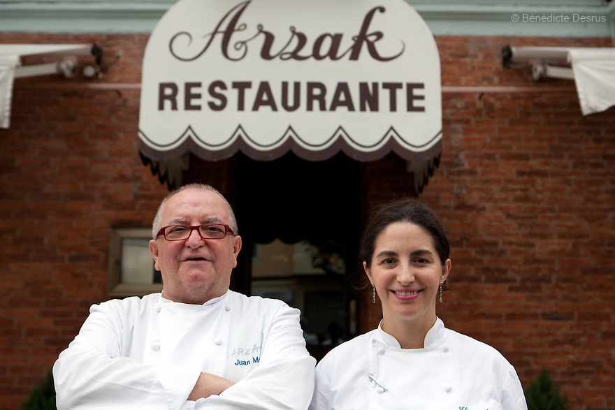 4 november 2010 - Donostia- San Sebastian, Spain - Spanish chefs Juan Mari Arzak and his daughter Elena. Juan Mari Arzak is the chef-owner of one of the top 10 restaurants in the world. He is considered to be one of the great masters of New Basque cuisine. His family have occupied the same site in San Sebastian since 1897, and Arzak is currently grooming his daughter Elena to take over the restaurant. Photo credit: Benedicte Desrus