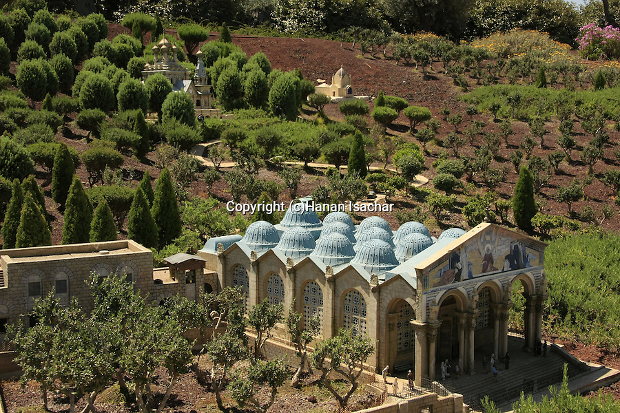 Israel, Shephelah. A model of Gethsemane and the Church of All Nations in Mini Israel park
