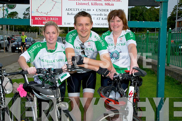 BIKE: Caroline Dillane, Brian O'Shea and Catherine O'Connor of Na Gaeil GAA Club supportingb the Cycle run to raise fund for the Na Gaeil GAA Club on Saturday.