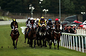 June 10th 2017, Chester Racecourse, Cheshire, England; Chester Races Horse racing; Modernism in the red cap ridden by Stevie O'Donohoe leads the horses after the first lap of the circuit in the Crabbies Handicap Stakes