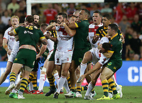 Players scuffle during the Rugby League World Cup final between Australia and England, Suncorp Stadium, Brisbane, Australia, 2 December 2017. Copyright Image: Tertius Pickard / www.photosport.nz MANDATORY CREDIT/BYLINE : Tertius Pickard/SWpix.com/PhotosportNZ