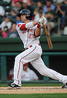 Outfielder Bryce Brentz (25) of the Greenville Drive, Class A affiliate of the Boston Red Sox, in a game against the Greensboro Grasshoppers on April 26, 2011, at Fluor Field at the West End in Greenville, South Carolina. (Tom Priddy/Four Seam Images)