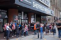 Sheffield United fans waiting for the Leicester City team bus to arrive during the Carabao Cup match between Sheff United and Leicester City at Bramall Lane, Sheffield, England on 22 August 2017. Photo by James Williamson / PRiME Media Images.