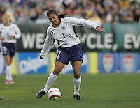 06 November,  2004.  USWNT midfielder Shannon Boxx (7) passes the ball upfield at  Lincoln Financial Field in Philadelphia, Pa.