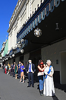 London, UK - 30 July 2020<br /> Madame Tussauds most popular figures 'queue' outside the attraction to celebrate the reopening to the public this Saturday 1st August of one of London's most notable tourist attractions. (L-R) Dwayne Johnson, Victoria and David Beckham, Beyoncé,  Eddie Redmayne, Donald Trump, Meghan Duchess of Sussex and Prince Harry,Taylor Swift, Boris Johnson, The Queen<br /> CAP/JOR<br /> ©JOR/Capital Pictures
