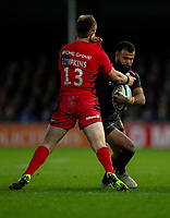 Exeter Chiefs' Tom O'Flaherty is tackled by Saracens' Nick Tompkins<br /> <br /> Photographer Bob Bradford/CameraSport<br /> <br /> Gallagher Premiership Round 10 - Exeter Chiefs v Saracens - Saturday 22nd December 2018 - Sandy Park - Exeter<br /> <br /> World Copyright © 2018 CameraSport. All rights reserved. 43 Linden Ave. Countesthorpe. Leicester. England. LE8 5PG - Tel: +44 (0) 116 277 4147 - admin@camerasport.com - www.camerasport.com