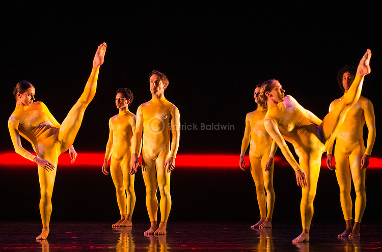 "Rambert Dance Company. ""The Strange Charm Of Mother Nature"" World Premiere. Choreographed by Mark Baldwin. L to R: Julia Gillespie, Dane Hurst, Pierre Tappon, Adam Blyde, Lucy Balfour, Miguel Altunaga."