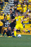 24 OCTOBER 2010:  Philadelphia Union midfielder Stefani Miglioranzi (15) and Columbus Crew midfielder Brian Carroll (16) during MLS soccer game at Crew Stadium in Columbus, Ohio on August 28, 2010.