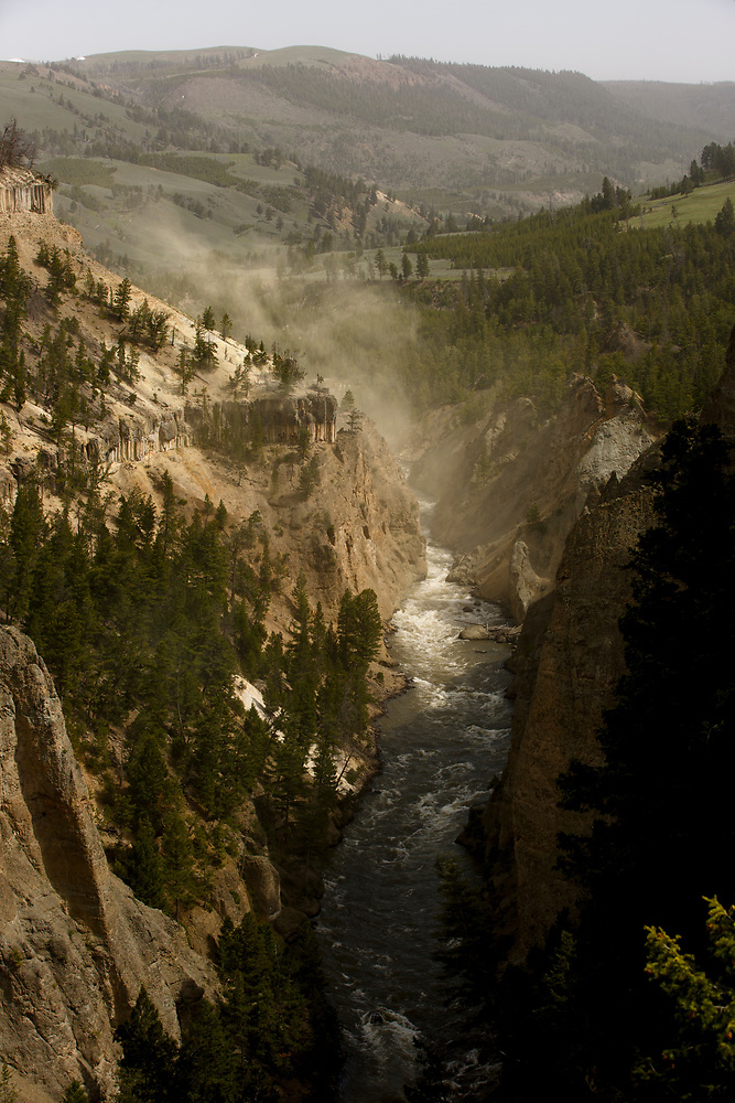 The Yellowstone River flows near Tower Fall in Yellowstone National Park, Wyoming on Wednesday, May 24, 2017. (Photo by James Brosher)
