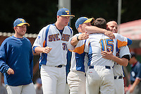 30 july 2010: Closer Nicholas Soubiea of Sweden celebrates with teammate during Sweden 3-2 win over France, in day 6 of the 2010 European Championship Seniors, at TV Cannstatt ballpark, in Stuttgart, Germany.