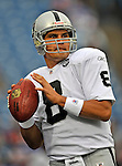 21 September 2008:  Oakland Raiders' quarterback Marques Tuiasosopo warms up prior to a game against the Buffalo Bills at Ralph Wilson Stadium in Orchard Park, NY. The Bills defeated the Raiders 24-23 to mark their first 3-0 start of the season since 1992...Mandatory Photo Credit: Ed Wolfstein Photo