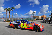 Nov. 15, 2008; Homestead, FL, USA; NASCAR Sprint Cup Series driver Jeff Gordon during practice for the Ford 400 at Homestead Miami Speedway. Mandatory Credit: Mark J. Rebilas-