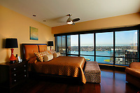 Jan 14, 2014_San Diego _ California_USA_| The master bedroom with a view of San Diego Bay and Coronado from the Harbor Club condo of Mark and Joan Fiorito.  | _Mandatory Photo Credit: Photo by K.C. Alfred/UT San Diego/Copyright 2014 . . . .