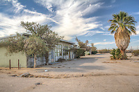 The aboandoned Dunes Motel on Route 66 near Lenwood California.  The motel appears to be from the 40's and is still in fairly good shape.