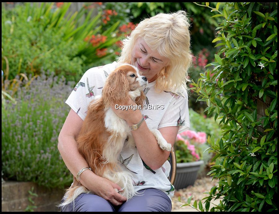 BNPS.co.uk (01202 558833)<br /> Pic:  RogerArbon/BNPS<br /> <br /> Theresa Buckingham and Lucky the dog.<br /> <br /> A pet owner has been left with a vets bill of over £7,000 after her dog ate a discarded fishing hook which ripped through its stomach.<br /> <br /> The Cavalier King Charles spaniel, aptly named Lucky, scoffed the two inch long barb while out for a beach walk.<br /> <br /> Owner Theresa Buckingham spotted fishing line protruding from Lucky's mouth and quickly realised there was a hook on the other end that he had swallowed. <br /> <br /> The pet  began yelping out and writhing in agony as the metal object slipped down his throat and ripped into his oesophagus.