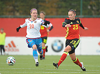 20161023 - TUBIZE , BELGIUM : Belgian Elien Van Wynendaele (R) and Russian Margarita Chernomyrdina (L) pictured during a friendly game between the women teams of the Belgian Red Flames and Russia at complex Euro 2000 in Tubize , Sunday 23 October 2016 ,  PHOTO Dirk Vuylsteke | Sportpix.Be