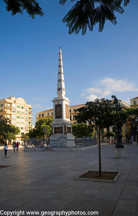 Obelisk in the historic, Plaza de la Merced, city of Malaga, Spain