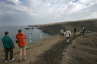 SANTA CRUZ ISLAND,CA - OCT. 26, 2007: Hikers take in the view of East Santa Cruz Island Scorpion Anchorage, October 26, 2007. The diverse terrain on the island has something for everyone, beaches ocean view bluffs, mountain hiking and pastoral valleys.