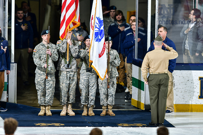 January 19, 2018; National anthem at a hockey game (Photo by Matt Cashore/University of Notre Dame)