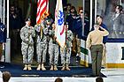 January 19, 2018; National anthem at a hockey game (Photo by Matt Cashore/University of Notre Dame)