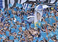 BOGOTA - COLOMBIA -03 -05-2015: Seguidores de Millonarios alientan a su equipo durante el encuentro con Atlético Nacional por la fecha 18 de la Liga Águila I 2015 jugado en el estadio Nemesio Camacho El Campín de la ciudad de Bogotá./ Players of Millonarios cheer their team prior the match against Atletico Nacional for the 18th date of the Aguila League I 2015 played at Nemesio Camacho El Campin stadium in Bogotá city. Photo: VizzorImage / Gabriel Aponte / Staff.