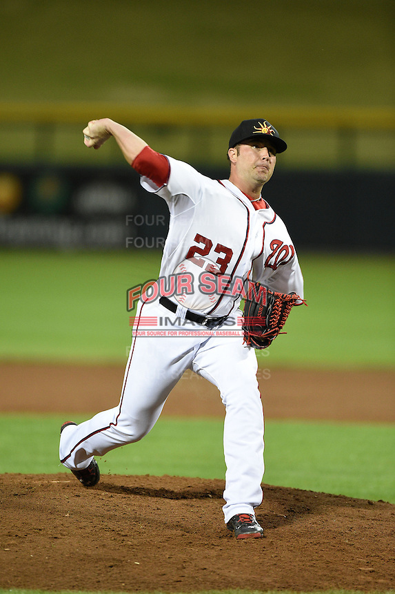 Mesa Solar Sox pitcher Derek Self (23) during an Arizona Fall League game against the Salt River Rafters on October 18, 2014 at Cubs Park in Mesa, Arizona.  Mesa defeated Salt River 8-4.  (Mike Janes/Four Seam Images)