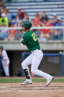 Beloit Snappers first baseman Jack Meggs (23) follows through on a swing during a game against the Dayton Dragons on July 22, 2018 at Pohlman Field in Beloit, Wisconsin.  Dayton defeated Beloit 2-1.  (Mike Janes/Four Seam Images)