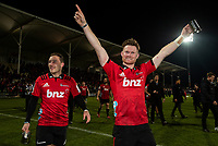 Crusaders Mitchell Hunt and Mitchell Drummond celebrate following the 2018 Super Rugby final between the Crusaders and Lions at AMI Stadium in Christchurch, New Zealand on Sunday, 29 July 2018. Photo: Joe Johnson / lintottphoto.co.nz