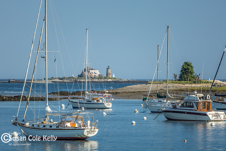 The Wood Island lifesaving station and Whaleback Light in Kittery, Maine, USA