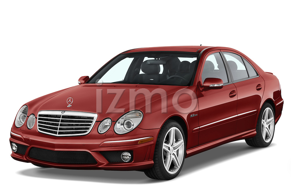 Front three quarter view of a red 2008 Mercedes E63 Sedan.