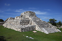 Temple of the Niches with the Pyramid of Kukulcan in the distance, Mayapan, old Maya capital, c. 1250, destroyed during civil war in 1441, Yucatan, Mexico Picture by Manuel Cohen