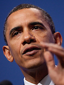 United States President Barack Obama speaks during a news conference at the Nuclear Security Summit at the Washington Convention Center in Washington, D.C., U.S., on Tuesday, April 13, 2010. Obama urged world leaders today to confront the prospect of nuclear terrorism and take concrete action to head off what he called one of the greatest threats to global security. .Credit: Andrew Harrer / Pool via CNP