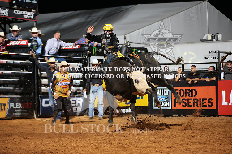 Jess Lockwood rides Rippy Creek Bucking Cattle's Play Girl for 73.25 and gets a reride during the first round of the Thackerville Built Ford Tough series PBR.  Photo Copyrighted. Photo credit must be given on all uses. Photo by Andy Watson / Bull Stock Media