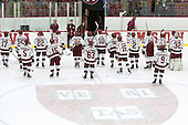 The Crimson salute their fans. - The Harvard University Crimson defeated the Dartmouth College Big Green 5-2 to sweep their weekend series on Sunday, November 1, 2015, at Bright-Landry Hockey Center in Boston, Massachusetts. -