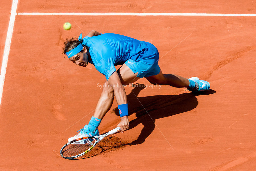 May 30, 2015: Rafael NADAL of Spain in action in a 3rd round match against Andrey Kuznetsov of the Russian Federation on day seven of the 2015 French Open tennis tournament at Roland Garros in Paris, France. Sydney Low/AsteriskImages
