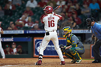 Cole Austin (16) of the Arkansas Razorbacks at bat against the Baylor Bears in game nine of the 2020 Shriners Hospitals for Children College Classic at Minute Maid Park on March 1, 2020 in Houston, Texas. The Bears defeated the Razorbacks 3-2. (Brian Westerholt/Four Seam Images)