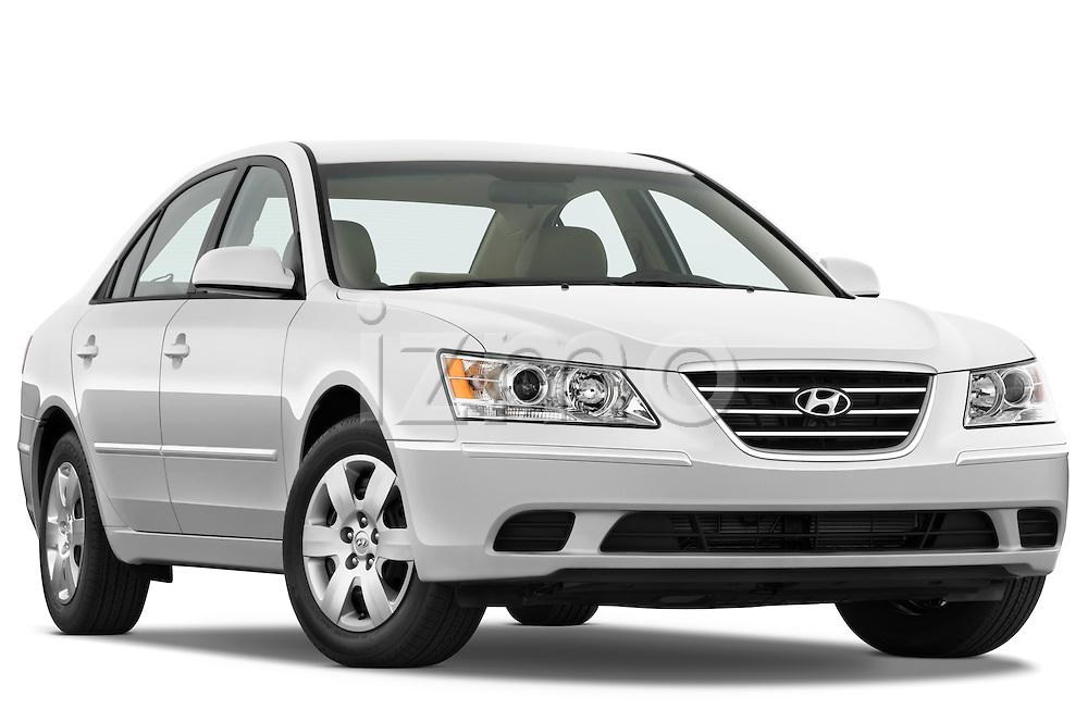 Low aggressive passenger side front three quarter view of a 2010 Hyundai Sonata GLS.
