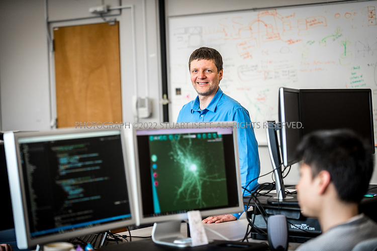 4/19/2017&mdash; Seattle, WA, USA<br /> <br /> University of Washington professor, Zoran Popovic&rsquo;s lab where students and developers are helping him build the videogame Mozak. <br /> <br /> Here:  Developer Roy Szeto, 27, (foreground) works on the Mozak project.<br /> <br /> The game has been created by a team at the University of Washington in Seattle led by professor Popovic and uses the skills of novice players to model brain cells with a much higher degree of accuracy than conventional computer-based modeling tools. Mozak is first collaborating with the Allen Institute for Brain Science in Seattle on the effort, but there will eventually be other participants from academia that use Mozak. <br /> <br /> Photograph by Stuart Isett. &copy;2017 Stuart Isett. All rights reserved.