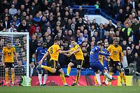 Eden Hazard scores Chelsea's opening goal during Chelsea vs Wolverhampton Wanderers, Premier League Football at Stamford Bridge on 10th March 2019